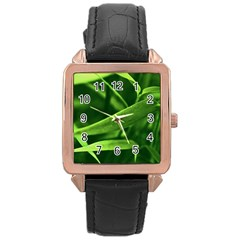 Bamboo Rose Gold Leather Watch