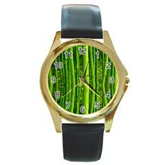 Bamboo Round Metal Watch (Gold Rim)