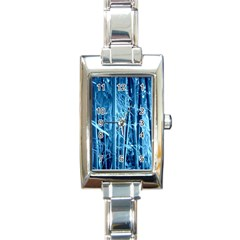 Blue Bamboo Rectangular Italian Charm Watch