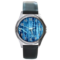 Blue Bamboo Round Metal Watch (Silver Rim)