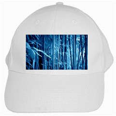 Blue Bamboo White Baseball Cap