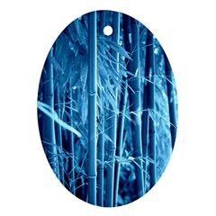 Blue Bamboo Oval Ornament