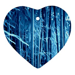 Blue Bamboo Heart Ornament
