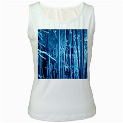 Blue Bamboo Womens  Tank Top (White)