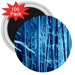Blue Bamboo 3  Button Magnet (100 pack)