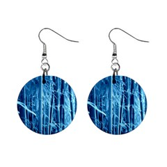 Blue Bamboo Mini Button Earrings