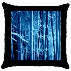 Blue Bamboo Black Throw Pillow Case