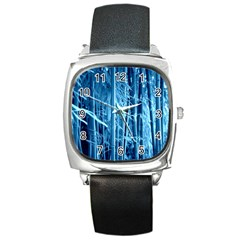 Blue Bamboo Square Leather Watch