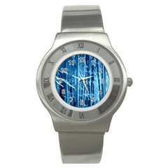 Blue Bamboo Stainless Steel Watch (Unisex)
