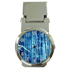 Blue Bamboo Money Clip With Watch