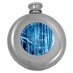 Blue Bamboo Hip Flask (Round)