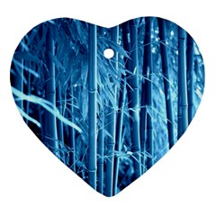 Blue Bamboo Heart Ornament (two Sides)