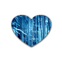Blue Bamboo Drink Coasters 4 Pack (Heart)