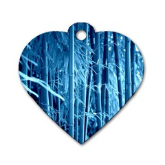 Blue Bamboo Dog Tag Heart (Two Sided)