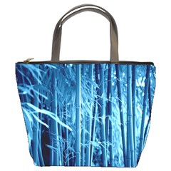 Blue Bamboo Bucket Bag