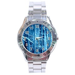 Blue Bamboo Stainless Steel Watch (Men s)