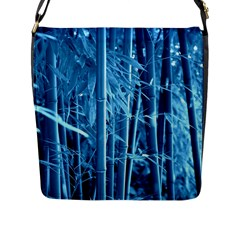 Blue Bamboo Flap Closure Messenger Bag (large)