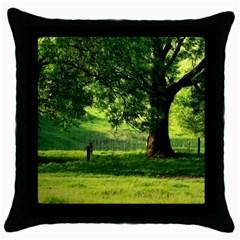 Trees Black Throw Pillow Case