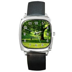 Trees Square Leather Watch