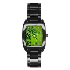 Leaf Men s Stainless Steel Barrel Analog Watch