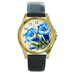Enzian Round Metal Watch (Gold Rim)