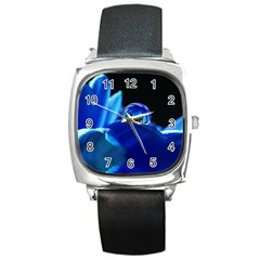 Waterdrop Square Leather Watch