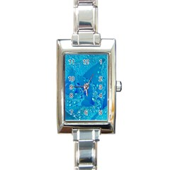 Blue Rose Rectangular Italian Charm Watch