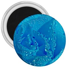 Blue Rose 3  Button Magnet