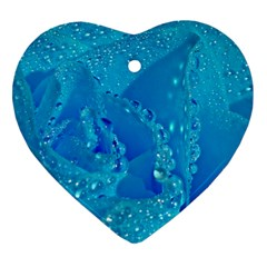 Blue Rose Heart Ornament