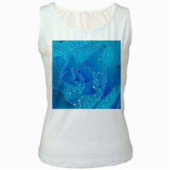 Blue Rose Womens  Tank Top (White)