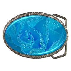 Blue Rose Belt Buckle (oval)
