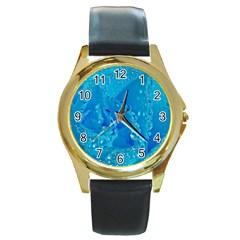 Blue Rose Round Metal Watch (Gold Rim)