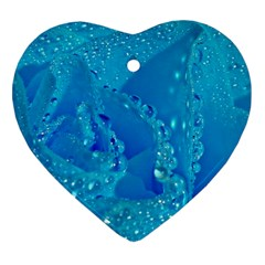 Blue Rose Heart Ornament (Two Sides)
