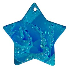 Blue Rose Star Ornament (Two Sides)