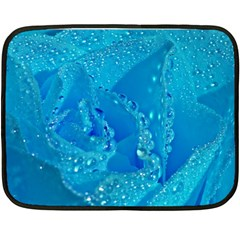 Blue Rose Mini Fleece Blanket (Two Sided)