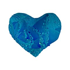 Blue Rose 16  Premium Heart Shape Cushion