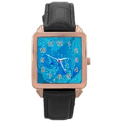 Blue Rose Rose Gold Leather Watch