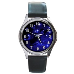 Blue Dreams Round Metal Watch (Silver Rim)