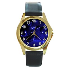 Blue Dreams Round Metal Watch (gold Rim)