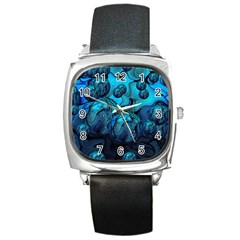 Magic Balls Square Leather Watch