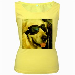 Cool Dog  Womens  Tank Top (Yellow)