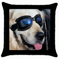 Cool Dog  Black Throw Pillow Case
