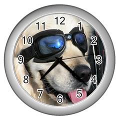 Cool Dog  Wall Clock (Silver)