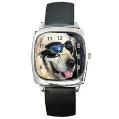 Cool Dog  Square Leather Watch