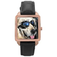 Cool Dog  Rose Gold Leather Watch
