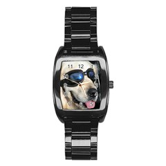 Cool Dog  Men s Stainless Steel Barrel Analog Watch