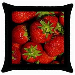 Strawberry  Black Throw Pillow Case