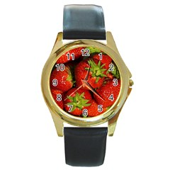 Strawberry  Round Metal Watch (Gold Rim)
