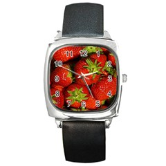 Strawberry  Square Leather Watch