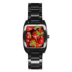 Strawberry  Men s Stainless Steel Barrel Analog Watch
